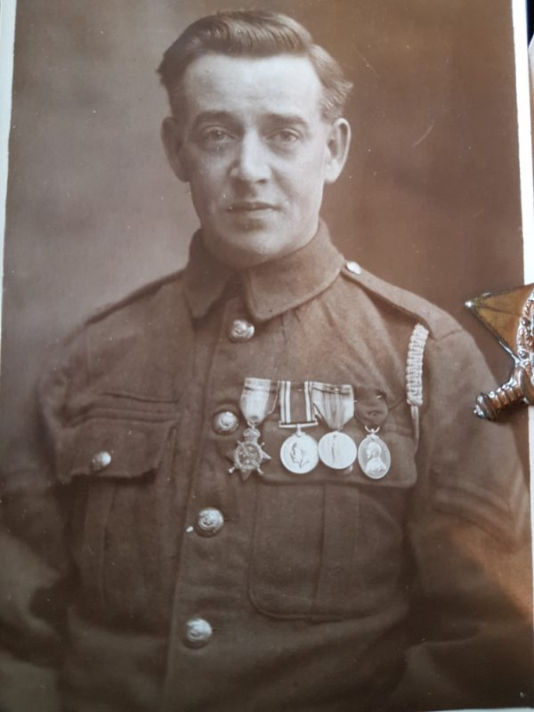 Arthur Broadley wearing his medals