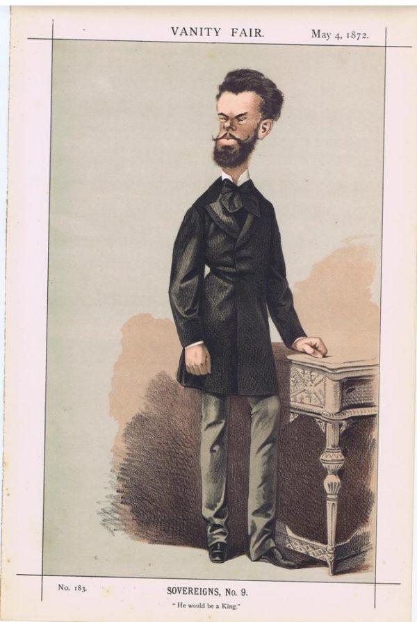 Amadeus, King of Spain 1872 Vanity Fair Print