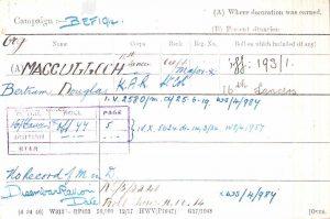 Great War Medal Index Card