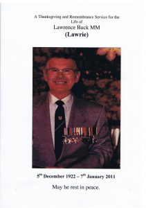 Lawrence Buck MM 5th December 1922 – 7th January 2011