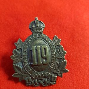 119TH ALGOMA OVERSEAS BATTALION CAP BADGE