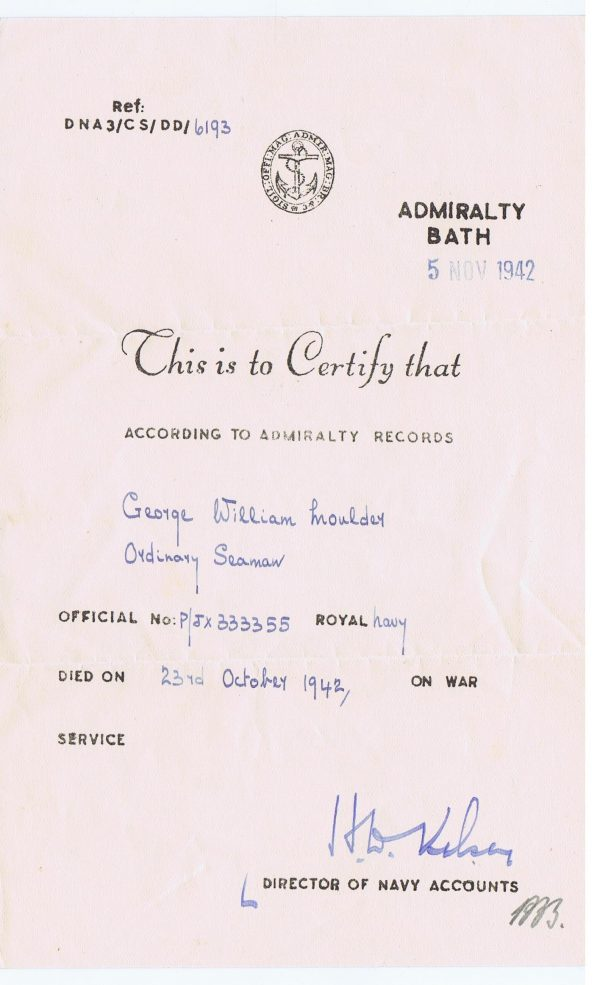 Admiralty Letter