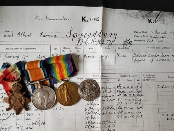 Q Ship Great War Medal Trio and Silver War Badge