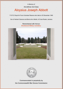 Abbott CWGC Certificate