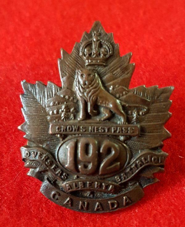 192nd Battalion Crowsnest Pass Collar Badge