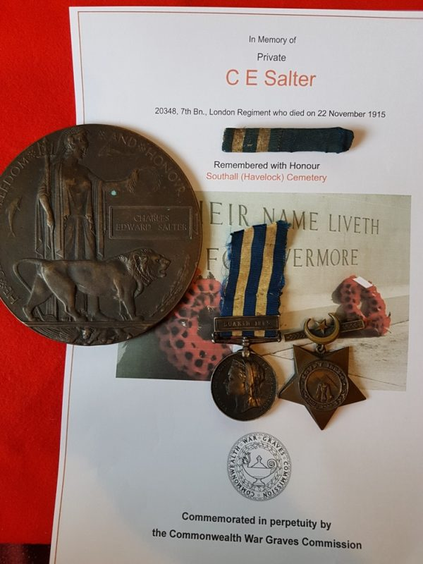 Egypt Medal Pair and Great War Memorial Plaque